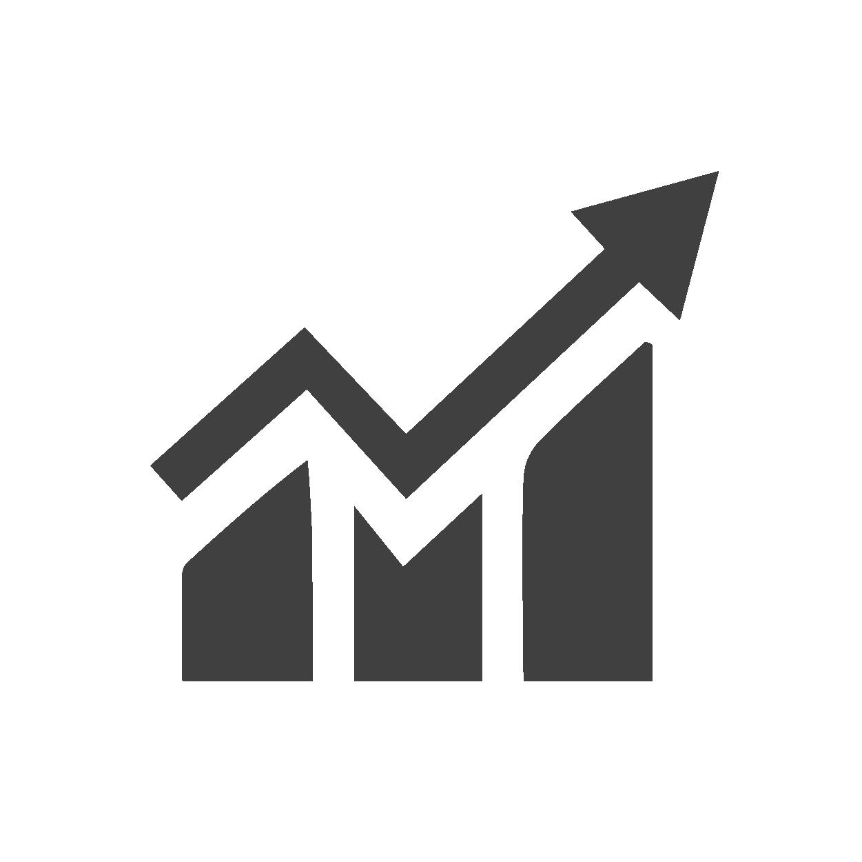 Icône représentant un graphique et une flèche qui va vers le haut